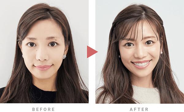 アートメイク前と後の眉の比較